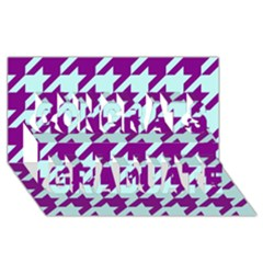 Houndstooth 2 Purple Congrats Graduate 3D Greeting Card (8x4)
