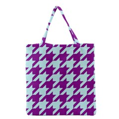 Houndstooth 2 Purple Grocery Tote Bags