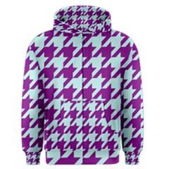 Houndstooth 2 Purple Men s Zipper Hoodies