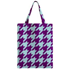 Houndstooth 2 Purple Zipper Classic Tote Bags