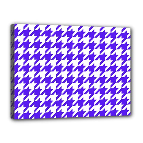 Houndstooth Blue Canvas 16  x 12