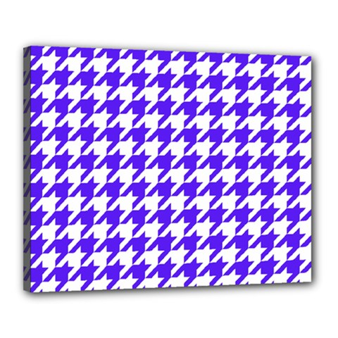 Houndstooth Blue Canvas 20  x 16