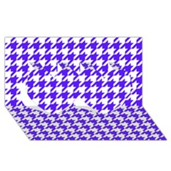 Houndstooth Blue Twin Hearts 3D Greeting Card (8x4)