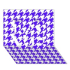 Houndstooth Blue LOVE 3D Greeting Card (7x5)