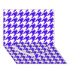 Houndstooth Blue Heart Bottom 3d Greeting Card (7x5)
