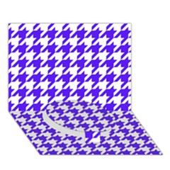 Houndstooth Blue Circle Bottom 3D Greeting Card (7x5)