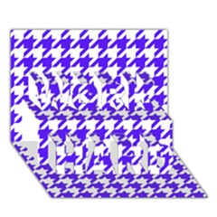 Houndstooth Blue WORK HARD 3D Greeting Card (7x5)