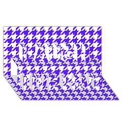 Houndstooth Blue Laugh Live Love 3D Greeting Card (8x4)
