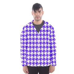 Houndstooth Blue Hooded Wind Breaker (men)