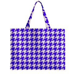 Houndstooth Blue Zipper Tiny Tote Bags
