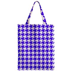 Houndstooth Blue Zipper Classic Tote Bags