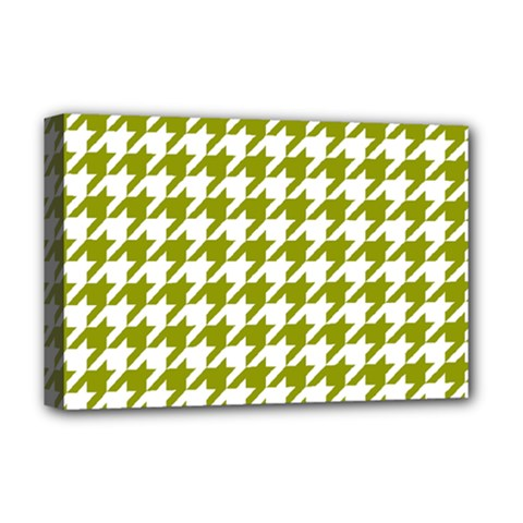 Houndstooth Green Deluxe Canvas 18  x 12