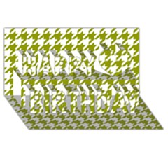 Houndstooth Green Happy Birthday 3D Greeting Card (8x4)
