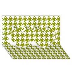 Houndstooth Green Twin Hearts 3d Greeting Card (8x4)