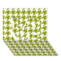 Houndstooth Green LOVE 3D Greeting Card (7x5)