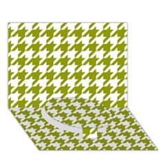 Houndstooth Green Circle Bottom 3d Greeting Card (7x5)
