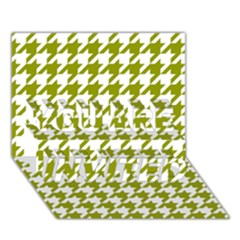 Houndstooth Green You Are Invited 3d Greeting Card (7x5)