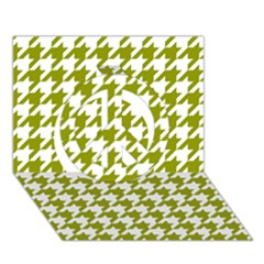 Houndstooth Green Peace Sign 3D Greeting Card (7x5)