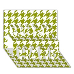 Houndstooth Green WORK HARD 3D Greeting Card (7x5)