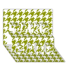 Houndstooth Green Take Care 3d Greeting Card (7x5)