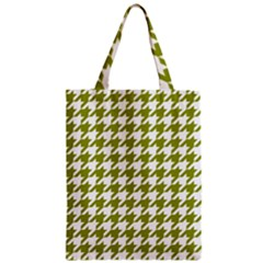 Houndstooth Green Zipper Classic Tote Bags