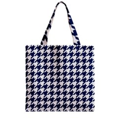Houndstooth Midnight Zipper Grocery Tote Bags