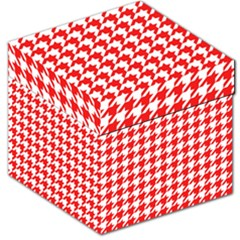 Houndstooth Red Storage Stool 12