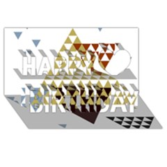 Colorful Modern Geometric Triangles Pattern Happy Birthday 3D Greeting Card (8x4)