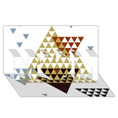Colorful Modern Geometric Triangles Pattern MOM 3D Greeting Card (8x4)