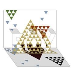 Colorful Modern Geometric Triangles Pattern BOY 3D Greeting Card (7x5)