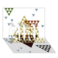 Colorful Modern Geometric Triangles Pattern Girl 3d Greeting Card (7x5)