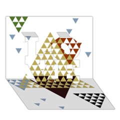 Colorful Modern Geometric Triangles Pattern Love 3d Greeting Card (7x5)
