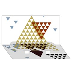 Colorful Modern Geometric Triangles Pattern Twin Heart Bottom 3D Greeting Card (8x4)
