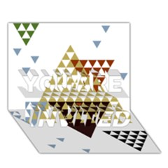 Colorful Modern Geometric Triangles Pattern You Are Invited 3d Greeting Card (7x5)
