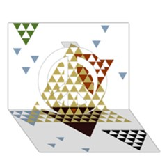 Colorful Modern Geometric Triangles Pattern Peace Sign 3D Greeting Card (7x5)