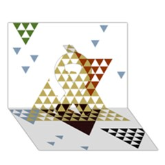 Colorful Modern Geometric Triangles Pattern Ribbon 3D Greeting Card (7x5)