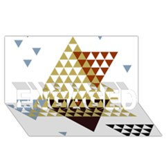 Colorful Modern Geometric Triangles Pattern ENGAGED 3D Greeting Card (8x4)
