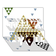 Colorful Modern Geometric Triangles Pattern THANK YOU 3D Greeting Card (7x5)