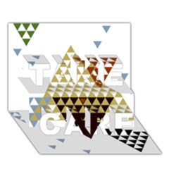 Colorful Modern Geometric Triangles Pattern TAKE CARE 3D Greeting Card (7x5)