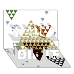 Colorful Modern Geometric Triangles Pattern You Did It 3D Greeting Card (7x5)