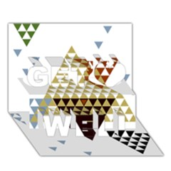 Colorful Modern Geometric Triangles Pattern Get Well 3D Greeting Card (7x5)