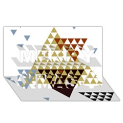 Colorful Modern Geometric Triangles Pattern Merry Xmas 3D Greeting Card (8x4)