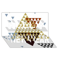 Colorful Modern Geometric Triangles Pattern Happy New Year 3d Greeting Card (8x4)