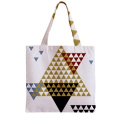 Colorful Modern Geometric Triangles Pattern Grocery Tote Bags