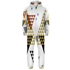 Colorful Modern Geometric Triangles Pattern Hooded Jumpsuit (men)