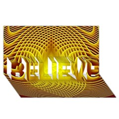 Swirling Dreams Yellow Believe 3d Greeting Card (8x4)