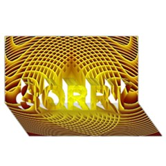 Swirling Dreams Yellow SORRY 3D Greeting Card (8x4)