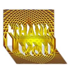 Swirling Dreams Yellow THANK YOU 3D Greeting Card (7x5)