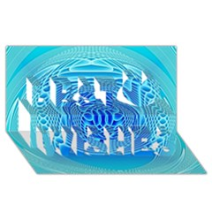 Swirling Dreams, Aqua Best Wish 3d Greeting Card (8x4)