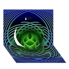 Swirling Dreams, Blue Green Circle 3D Greeting Card (7x5)